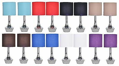 Pair of Tall Modern Chrome Touch Lamp Lounge / Bedside Table Lights Lamps