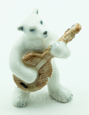 Figurine Animal Ceramic White Polar Bear Playing Guitar Musical -  FG013-2