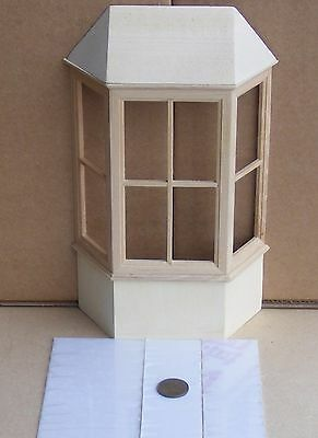 1:12 Scale Wooden Bay Window With A Roof Dolls House Miniature Accessory 128