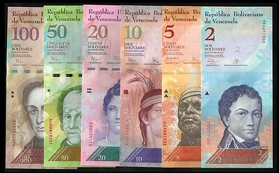 Venezuela 2,5,10,20,50,100 BOLIVARES 2007-2015 UNC LOT X 6 PCS OFFER !
