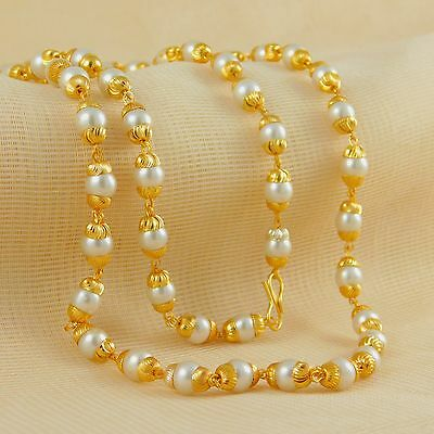 Indian Traditional Gold Plated Necklace Chain Jewelry Bollywood Pearl Jewelry