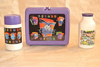 Plastic Looney Tunes Vintage Lunchbox w/Thermos and Milk Jug