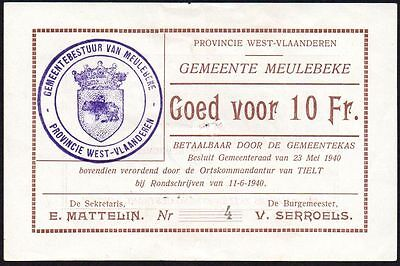 1940 BELGIUM - LOCAL ISSUE MEULEBEKE 10 FRANCS BANKNOTE * aEF * LOW SERSIAL NO