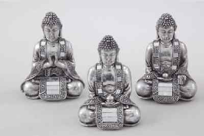 New Small Silver Resin Lucky Buddha Ornament Keepsake Present Gift Box Feng Shui