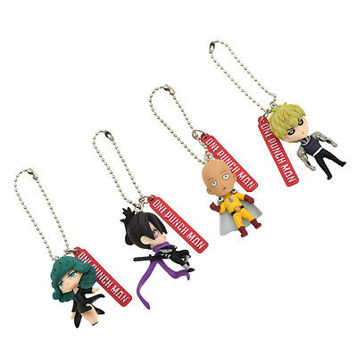 4 Pcs One Punch Man Saitama Genos Anime Keychain Key Ring Schoolbag Accessories