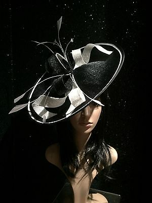 Black White Wedding Ascot Occasion Disc Hatinator Hat Mother Of The Bride