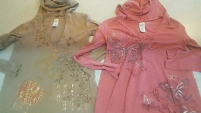 Duo Maternity Lot of 2 Floral Hooded Shirts Small S long sleeves