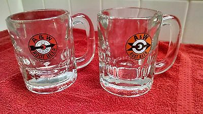 """A & W Root Beer Heavy Glass Mugs-2 different labels-4 1/2"""" tall-EXCELLENT!"""