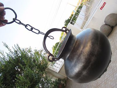 Antique Rustic Iron Cooking Pot Gypsy Cauldron Cook Fireplace for Decoration