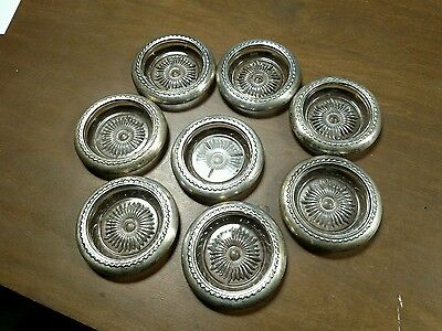 Set of 8 silver rimmed crystal coasters