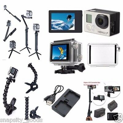 GoPro Hero 4 3+ Bundle LCD Bacpac + Adapter + Mount + Tripod 5 in 1 Full Kit