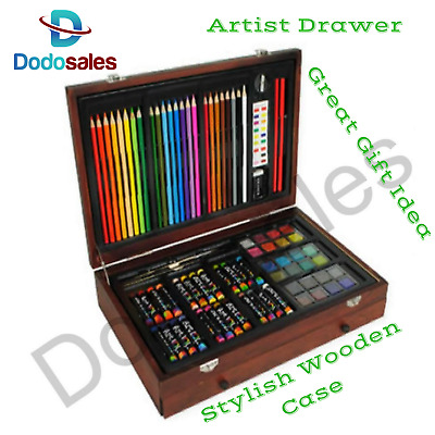 NEW Art Box Set Complete Drawing Colour Pencil Water Paint Crayon School Kids