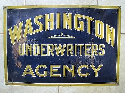 Old WASHINGTON UNDERWRITERS AGENCY Sign Insurance Co Advert Metallograph Corp NY