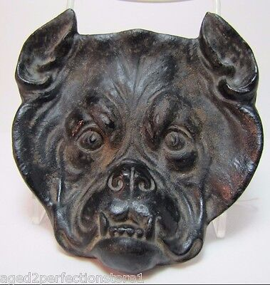Vintage Cast Iron Bulldog Tray figural high relief dogs head mean growling teeth