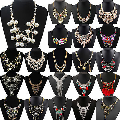 Fashion Chunky Crystal Statement Bib Chain Choker Pendant Necklace Hot Jewelry T