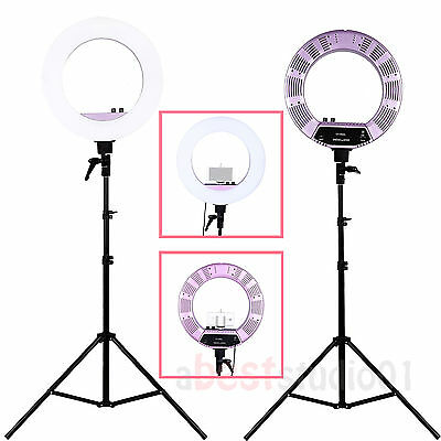 "Camera Photo/Video LED Stepless Adjustable Ring Light 18"" 480PCS 5500K Dimmable"