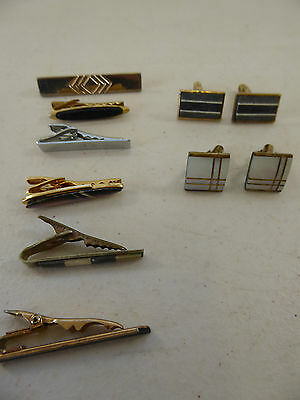 Lot of vintage Geometric TIE BARS clips and CUFFLINKS mad men style, retro swag