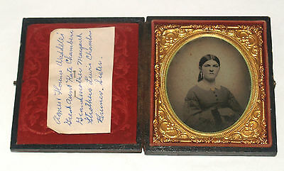 Antique Ambrotype Photograph Young Id'd Woman Fashionable Dress