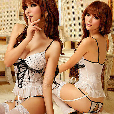 3PCS. Sexy white Lingerie Corsets dress+garter+G strings outfit bobydoll
