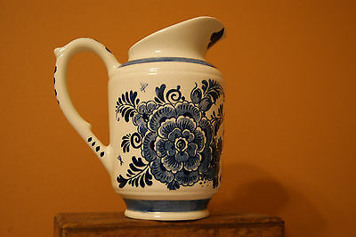 Delft Blue Distel Pottery Small pitcher or vase Blue floral  6 inches NICE!!