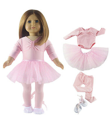 Hot Handmade Doll Clothes Pink Ballet Tutu Dress+shoes for 18 inch American Girl