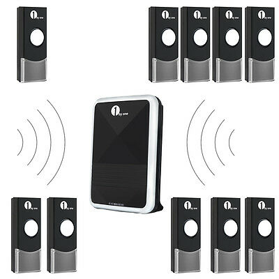 1byone Cordless Wireless Door Bell Kit Visitor Battery Chime 36 Tones 100M Range