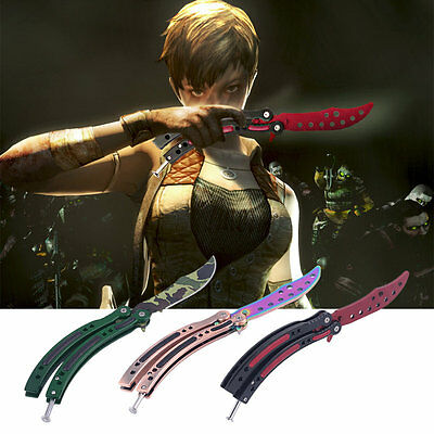 Practice Folding Metal Butterfly Style Tactical Combat Trainer Knife Trainer RE