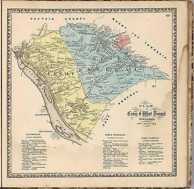 1864 LANCASTER COUNTY PENNSYLVANIA map state old GENEALOGY DVD LAND OWNERS P12