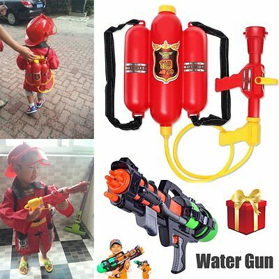 Fireman Backpack Water Gun Extinguisher Water Soaker & Fire Hat Beach Kids Toy E