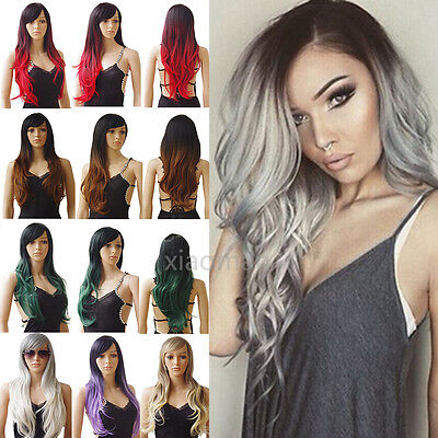 Fashion Full Wigs Long Straight Curly Wavy Ombre Hair Wig Soft Fringe UK Sell #p