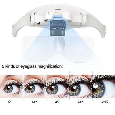Adjustable Magnifier Glasses for Eyelash Extension Loupe Headband Light G6M9