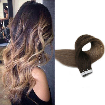 "16"" Brazilian Remy Seamless Tape in Human Hair Extensions Ombre Brown 20pcs/50g"