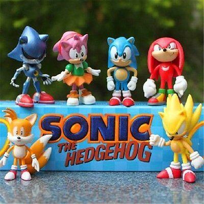 Sonic The Hedgehog 6 Pcs Character Display Figures Toy, UK SELLER , EXPRESS SHIP