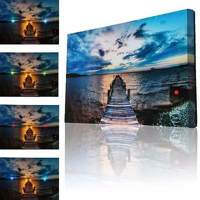 LED Lighted Light Up Canvas Prints Abstract Lake Picture Art Wall Hanging Decor