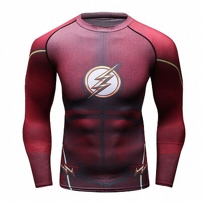 Superhero Flash Men Compression Shirt Top Long Sleeve For Outdoor Gym Sport Red