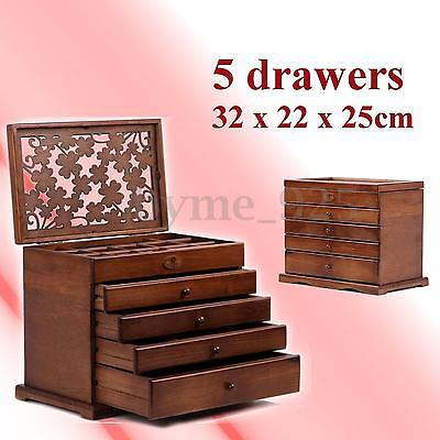 5 Drawers Vintage Retro Large Brown Wooden Jewellery Box Gift Storage Watch Case