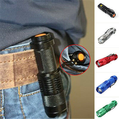 Mini LED Flashlight CREE Q5 800LM Waterproof LED 3 Modes Zoomable Portable Torch
