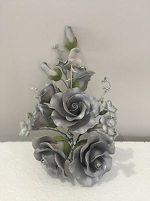 Silver Wedding Roses Engagement Anniversary Edible Cake Topper Cake Decorations