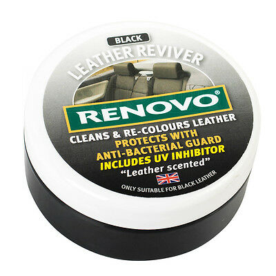 Renovo Black Leather Reviver Cleans & Re-Colours Protects Car Seats 200ml