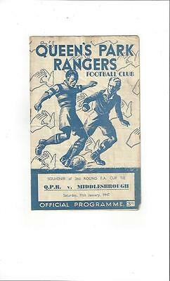 Queens Park Rangers v Middlesbrough FA Cup Football Programme 1946/47