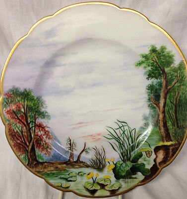 Heinrich H&c M.h.p. Mhp Handpainted Landscape Scene Dated 1880 Lily Pads Trees