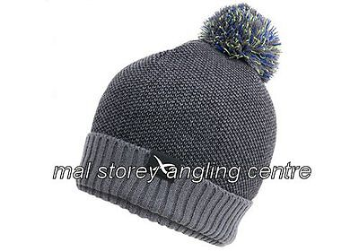 Matrix Knitted Bobble /  Beanie Hat Grey And Black