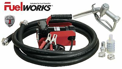 NEW Fuelworks 12V 10GPM Fuel Transfer Pump Kit with 13ft. Hose and Manual Nozzle