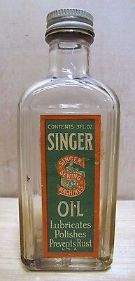 Antique SINGER SEWING MACHINE OIL Glass Embossed Bottle Can Jar w Top U.S.A.