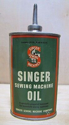 Antique SINGER SEWING MACHINE OIL Tin Litho Metal Can Bottle 3oz made in USA