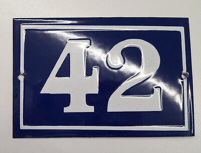 OLD FRENCH HOUSE NUMBER SIGN door gate PLATE PLAQUE Enamel steel metal 42 Blue