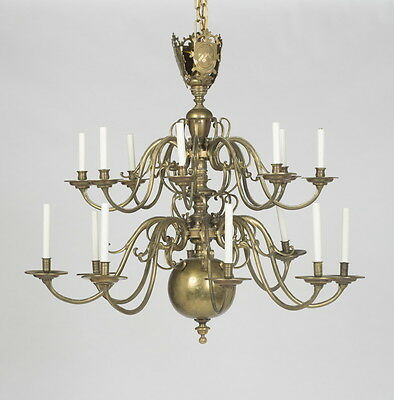 Large Antique Dutch Baroque Style 16-Light Electrified Brass Chandelier