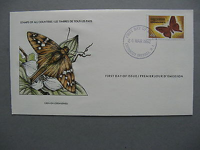GRENADA GREN., cover FDC 1982, insect butterfly