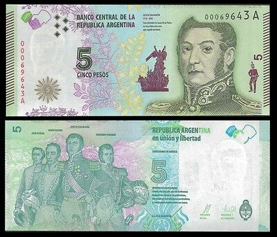 Argentina 5 PESOS Serie A ND 2015 UNC OFFER !