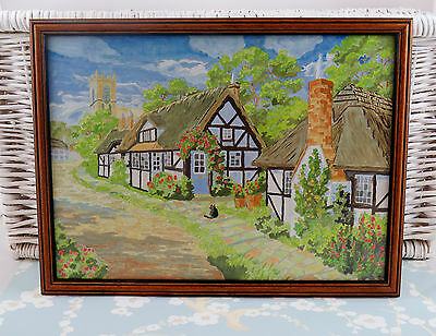 "Framed Completed  Painting By Numbers Thatched English Cottage  Cat 16""x13"""